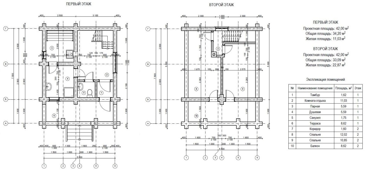 Двухэтажная баня из бревна 00-05