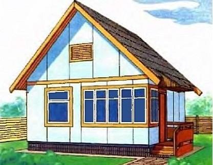 Одноэтажный летний садовый домик с мансардой 00-65