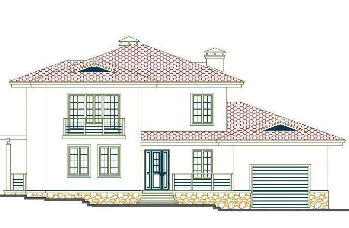 Двухэтажный коттедж с гаражом 00-52