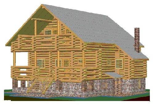 Дом с подвалом и мансардой (рубленый) 00-51