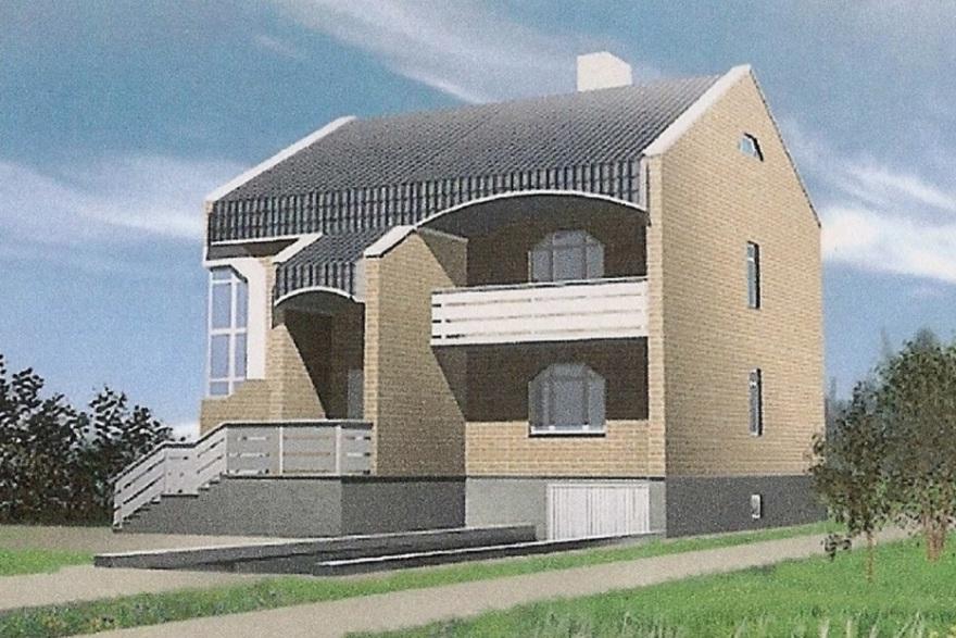 Двухэтажный дом с цокольным этажом 00-61