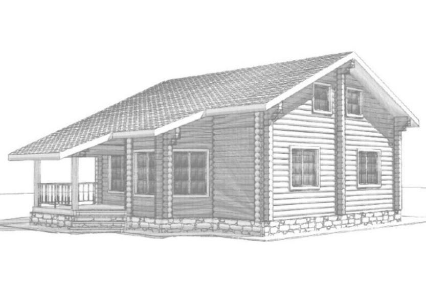 Двухэтажный сруб дома 00-58